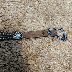 Leather belt w embellishment 36 in